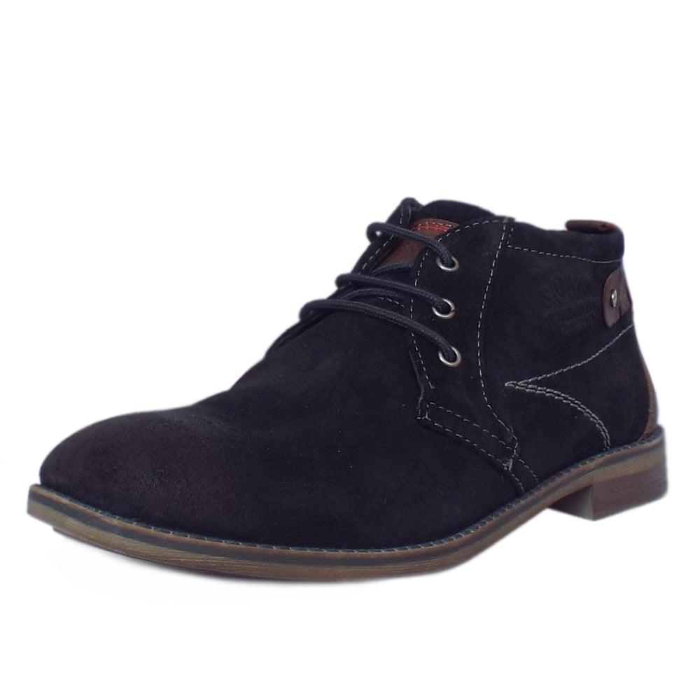 s oliver berlin 15106 mens navy leather desert boots mozimo. Black Bedroom Furniture Sets. Home Design Ideas