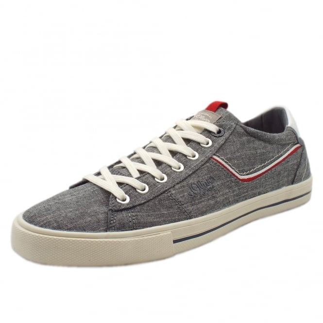 S.Oliver Charteris Men's 13600 Casual Lace Up Canvas Trainers In Grey