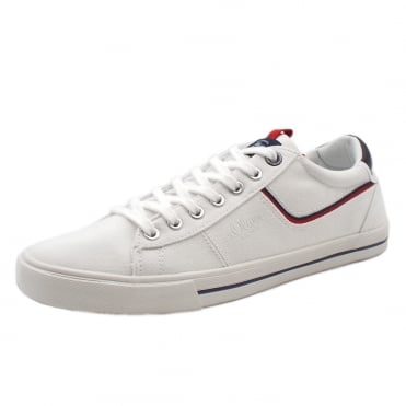 Charteris Men's 13600 Casual Lace Up Canvas Trainers In White