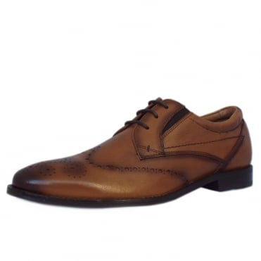 S.Oliver Cologne Men's 13207 Brogue Shoes in Tan Leather