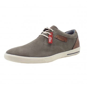 Patchell Men's Smart Casual Lace Up Trainers In Grey