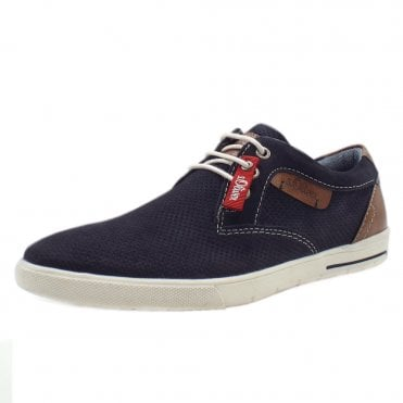 Patchell Men's Smart Casual Lace Up Trainers In Navy
