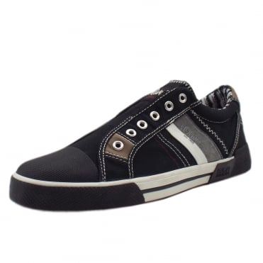 Quinell Men's 14603 Casual Slip On Canvas Trainers In Black