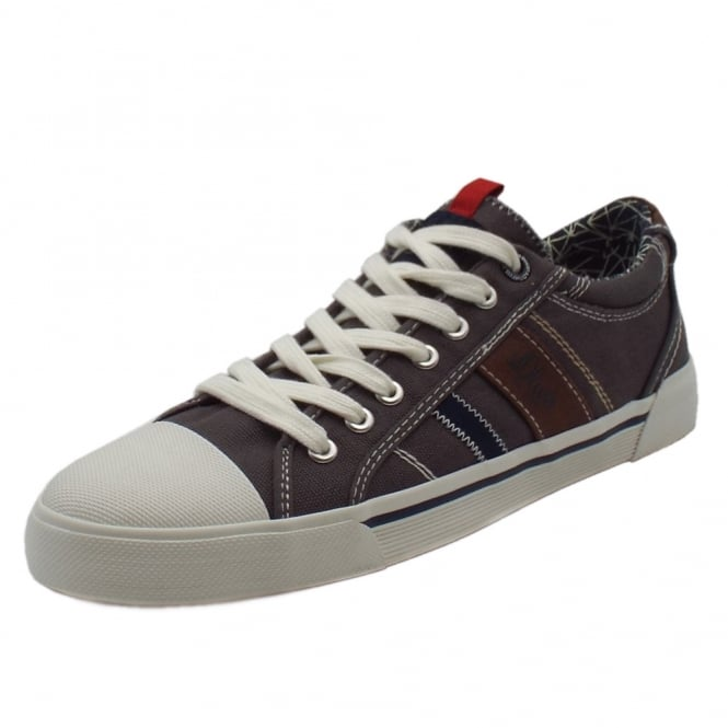 S.Oliver Webb Men's 13601 Casual Lace Up Canvas Trainers In Grey