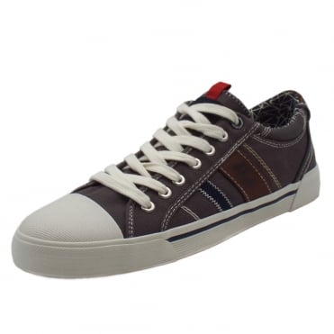 Webb Men's 13601 Casual Lace Up Canvas Trainers In Grey