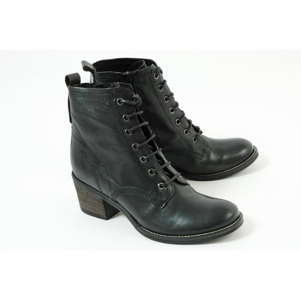 Original Details About Womens Vagabond Libby Heeled Lace Up BLACK LEATHER Boots