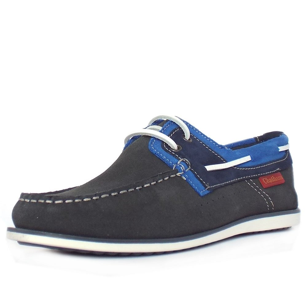 chatham marine sailmaker s grey and navy boat shoes