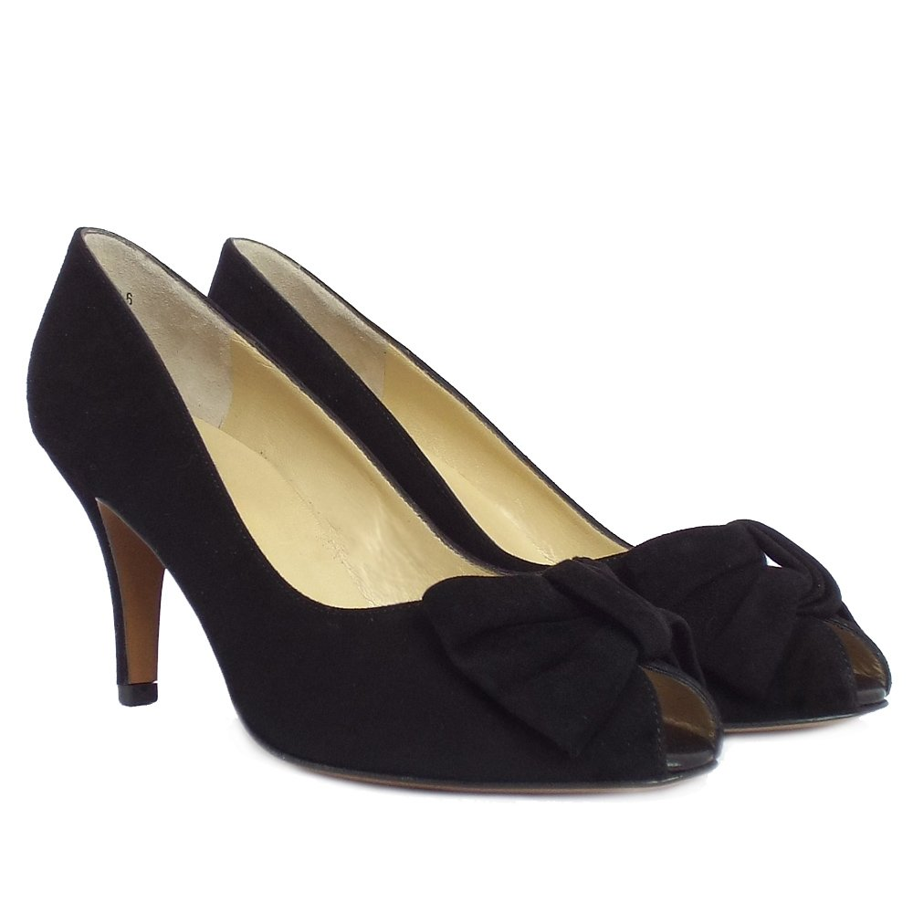 kaiser samos black suede peep toe shoes mozimo
