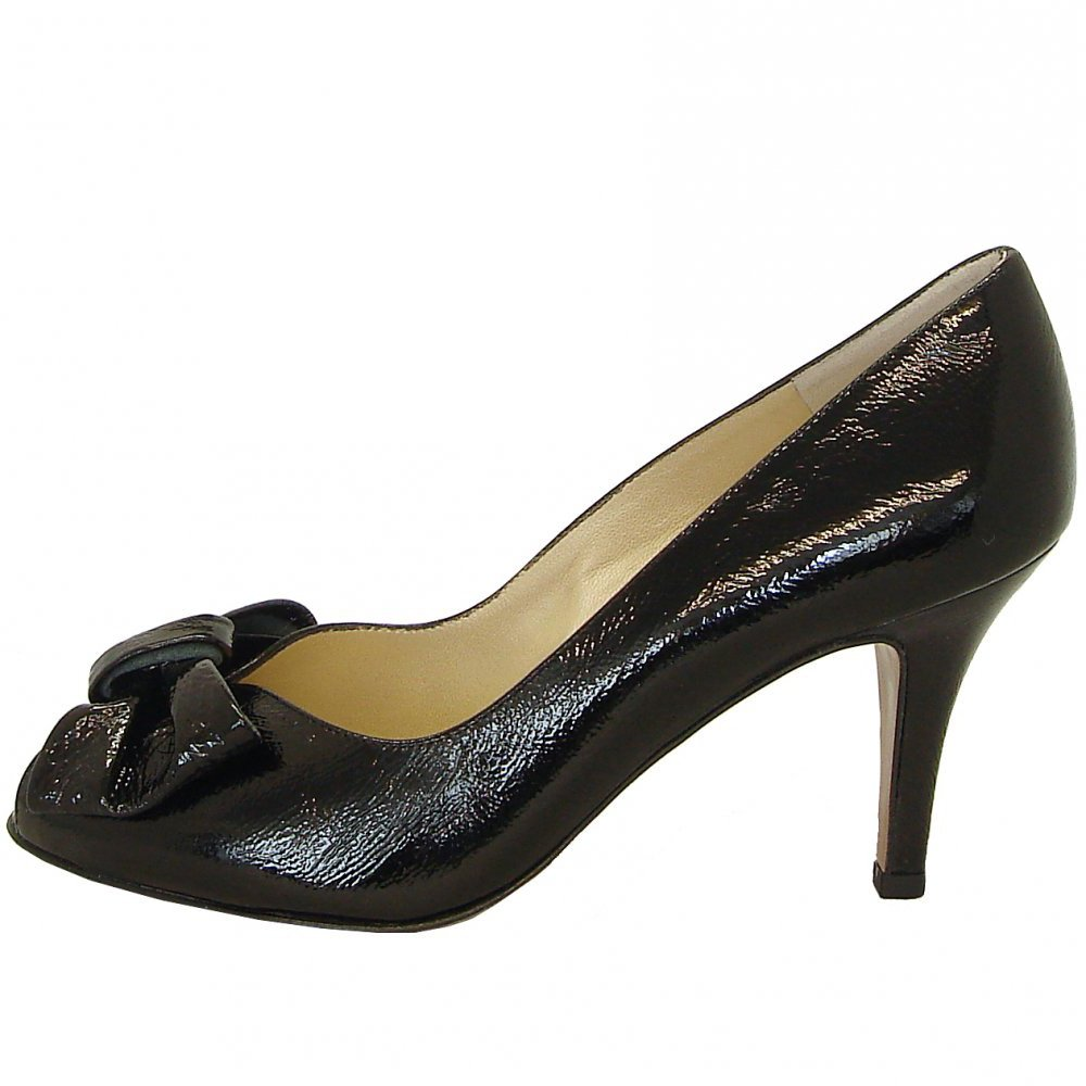 Black Mid Heel Peep Toe Shoes