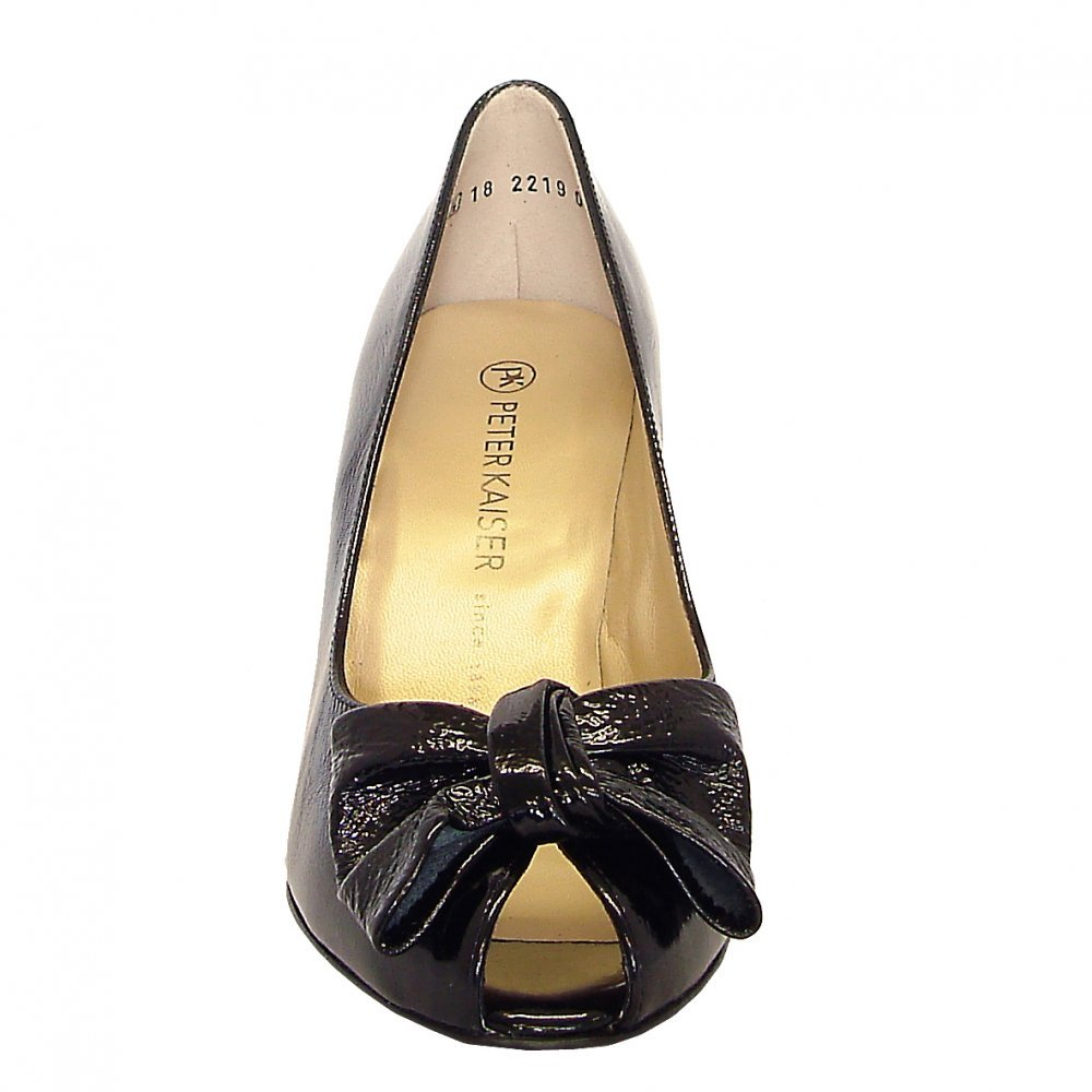 kaiser samos peep toe court shoes in black patent