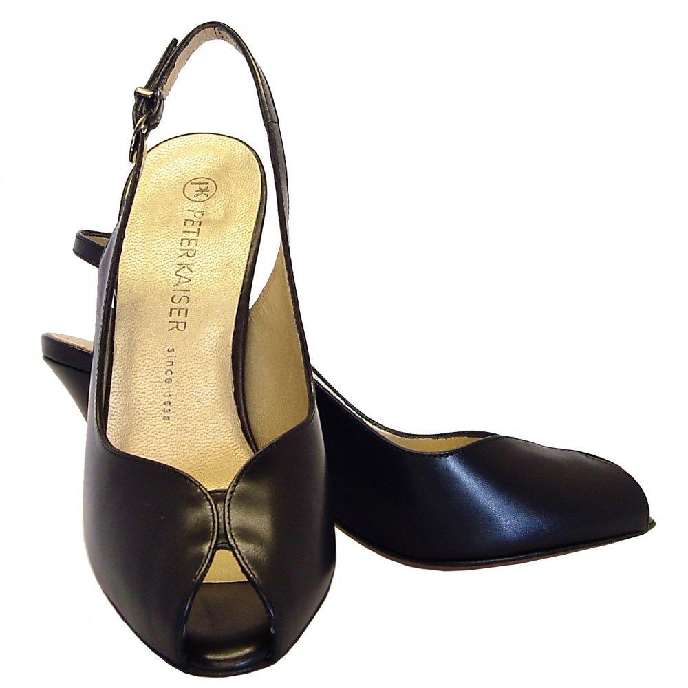 kaiser sandrie peep toe sling back shoes in black