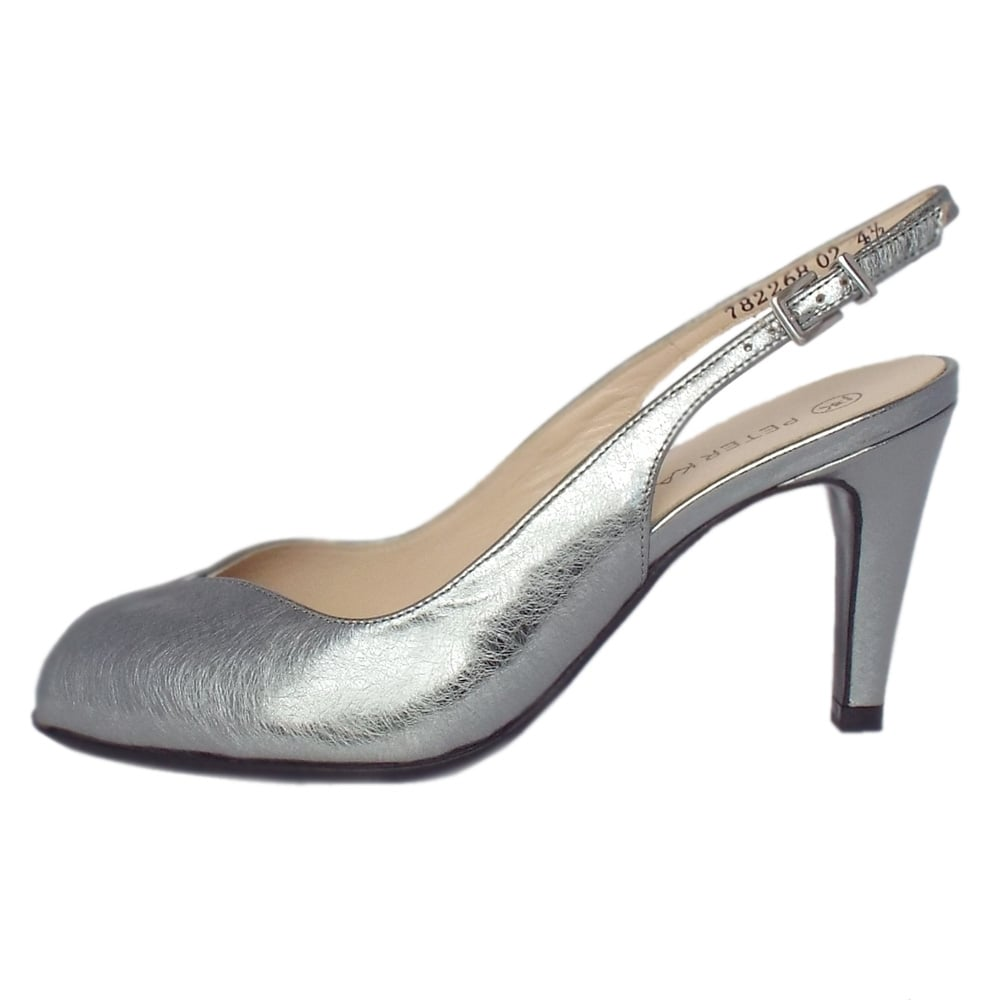 Peep Toe Sling Back Shoes In Silver