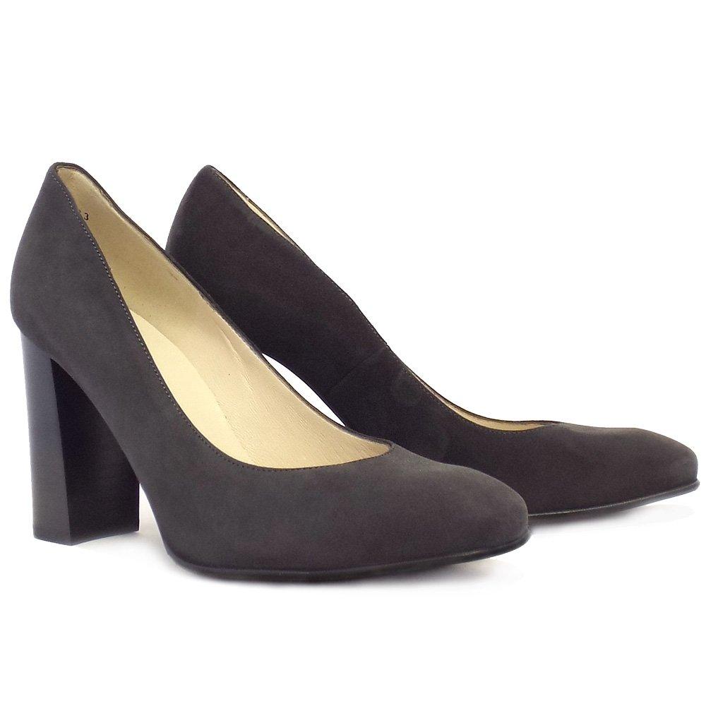 Grey Block Heel Shoes