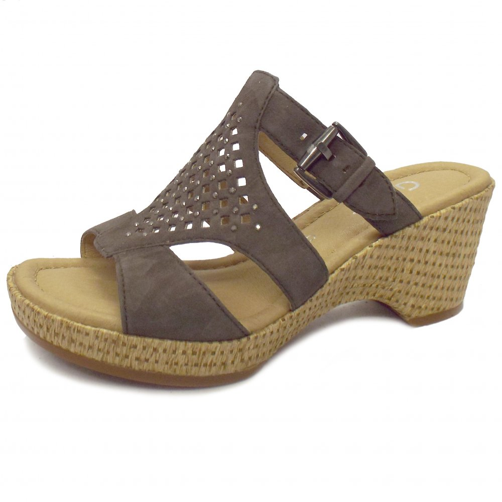 gabor sandals brown leather wedge sandals mozimo