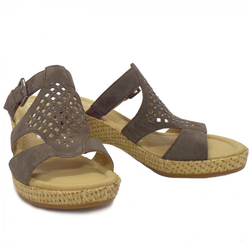 Gabor Sandals Sandy Brown Leather Wedge Sandals Mozimo