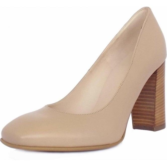 19649140057 Sandy Women  039 s Block Heel Court Shoes in Sand Leather