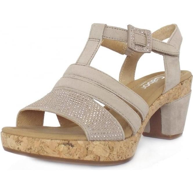 Sebring Modern Block Heel T-Bar Sandals in Beige