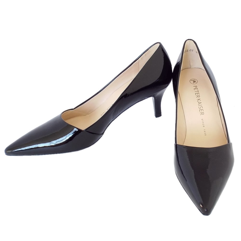 Black Patent Pointed Toe Kitten Heel Court Shoe