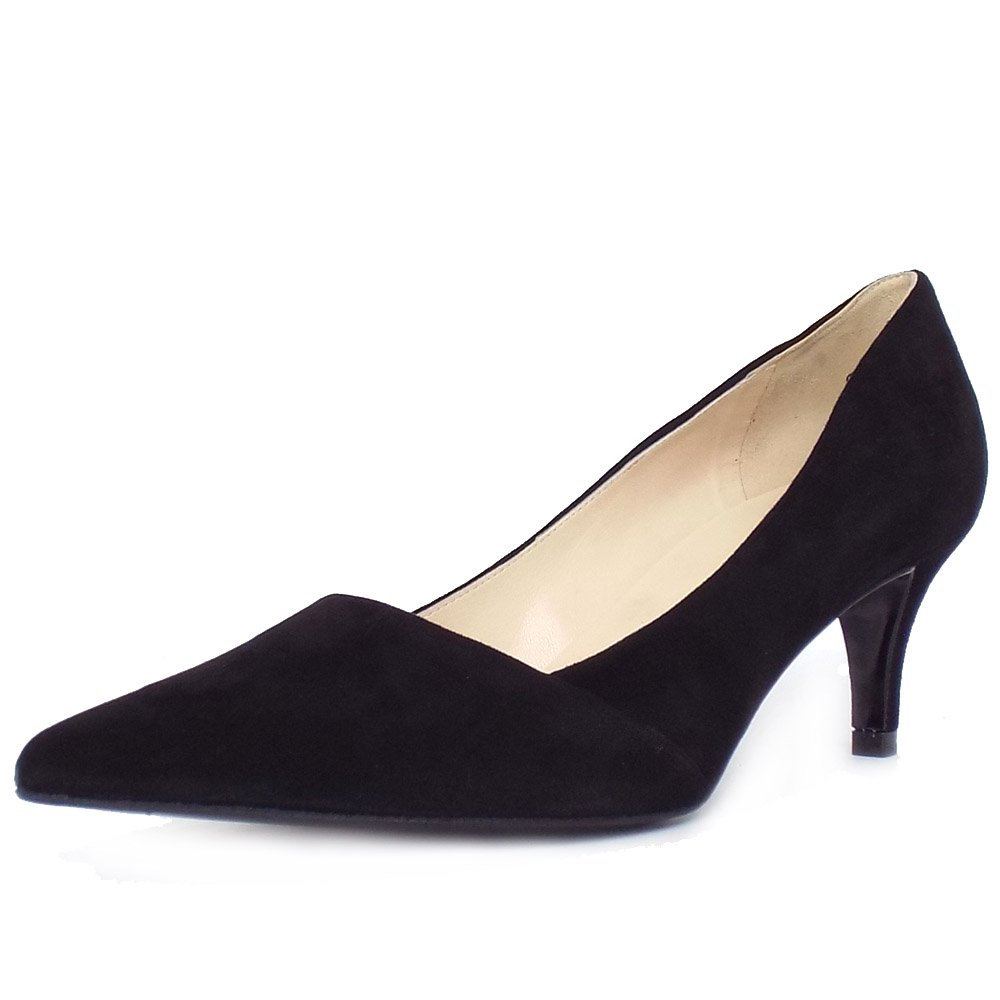 Black Suede Court Shoes Mid Heel