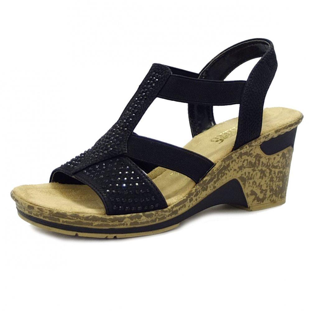 rieker shoes sensation black wedge sandal shoes