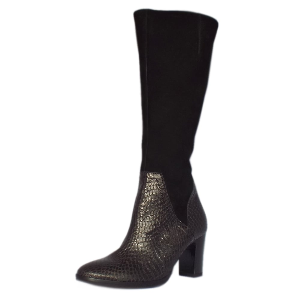 gabor modern black snake leather knee high boots