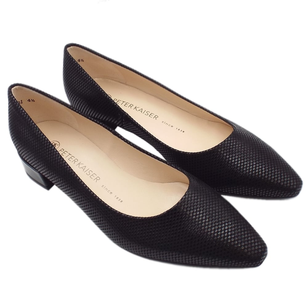 uk availability 6f52e 68c35 Sita Classic Low Heel Court Shoes in Black Cube