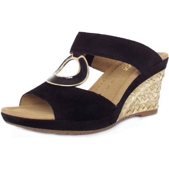 eaf49411f2d Sizzle Modern Wedge Sandals in Black Suede