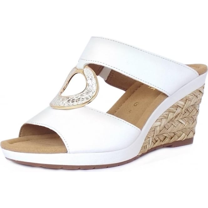 8a392f7945f3 Sizzle Modern Wedge Sandals in White Leather