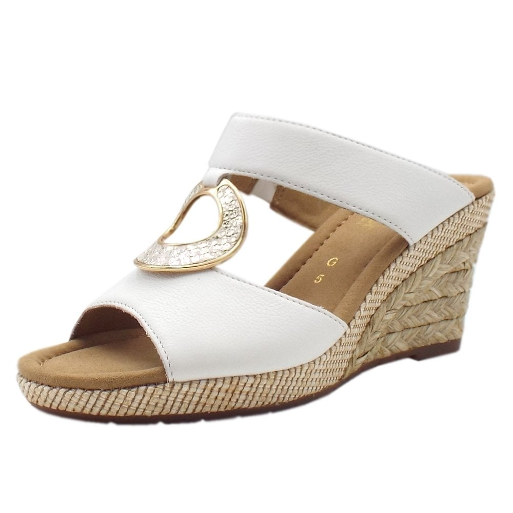 Gabor Sizzle | Womens Rose Gold Wide Fit Leather Wedge
