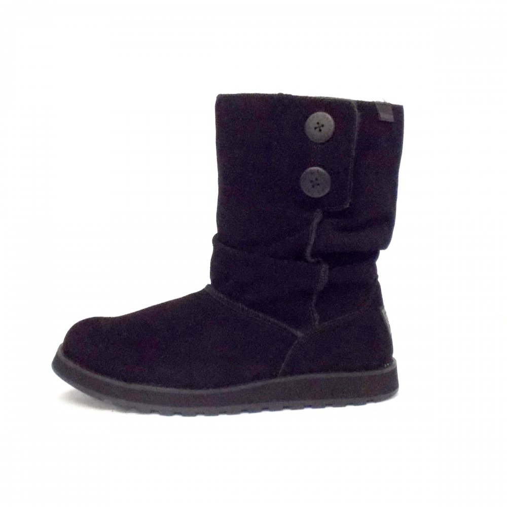 Skechers Freezing Ladies Short Black Suede Ankle Boots Mozimo