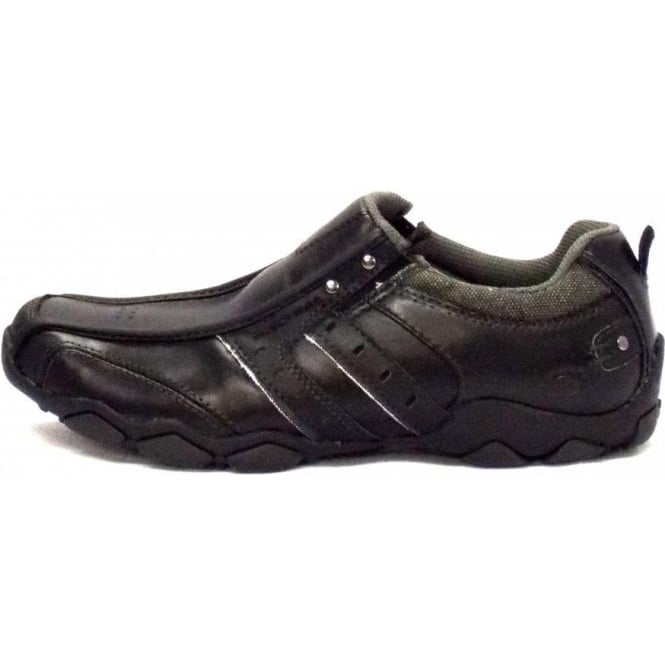 skechers black leather shoes