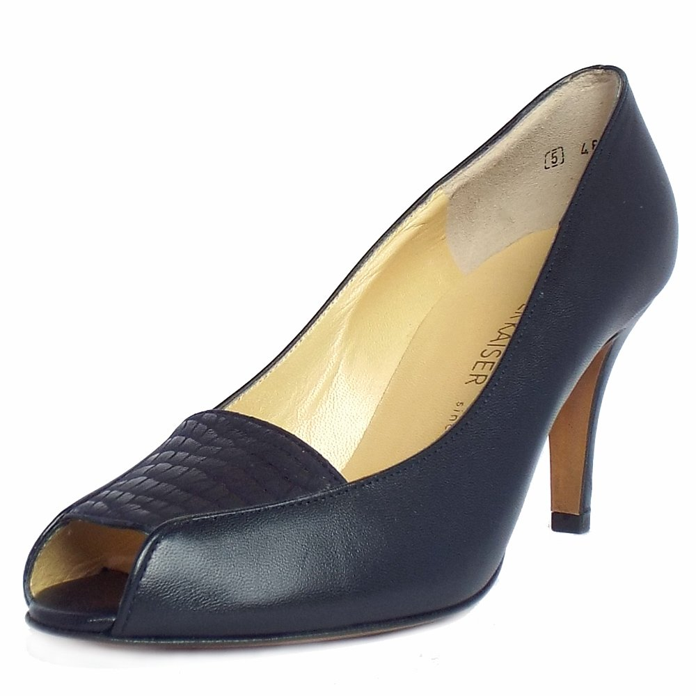 kaiser skerzo peep toe court shoes in navy