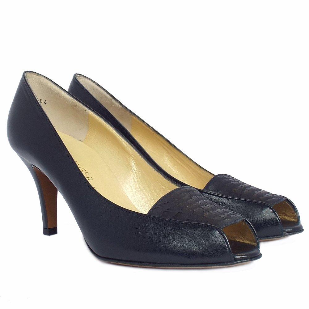 Peep Toe Ladies Court Shoes In Navy