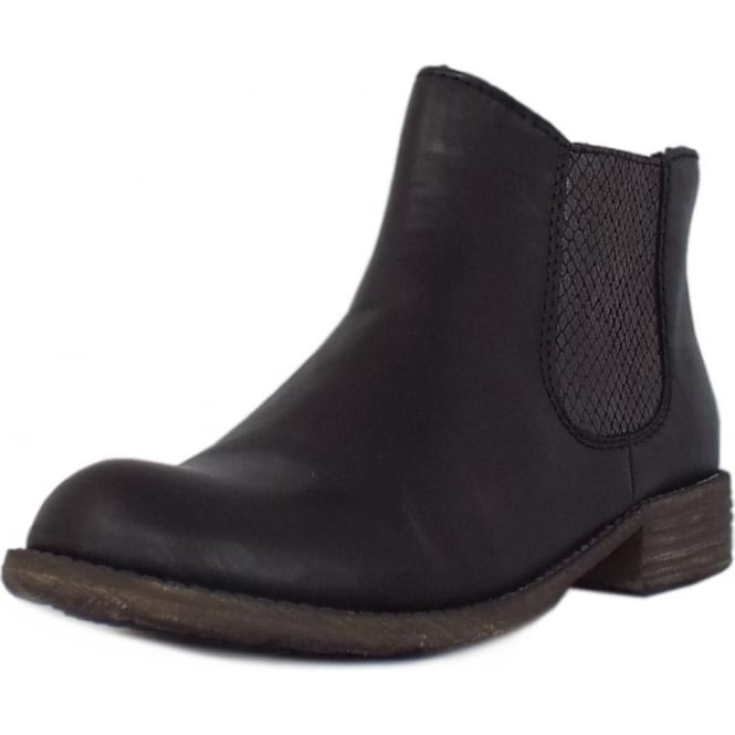Rieker Skyfall Fleece Lined Chelsea Boots in Black with Snake Print Detail