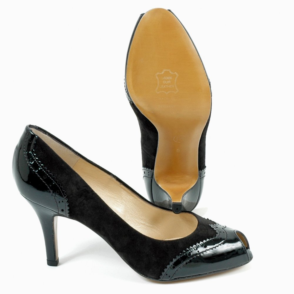 kaiser smyrna medium heel peep toe black suede