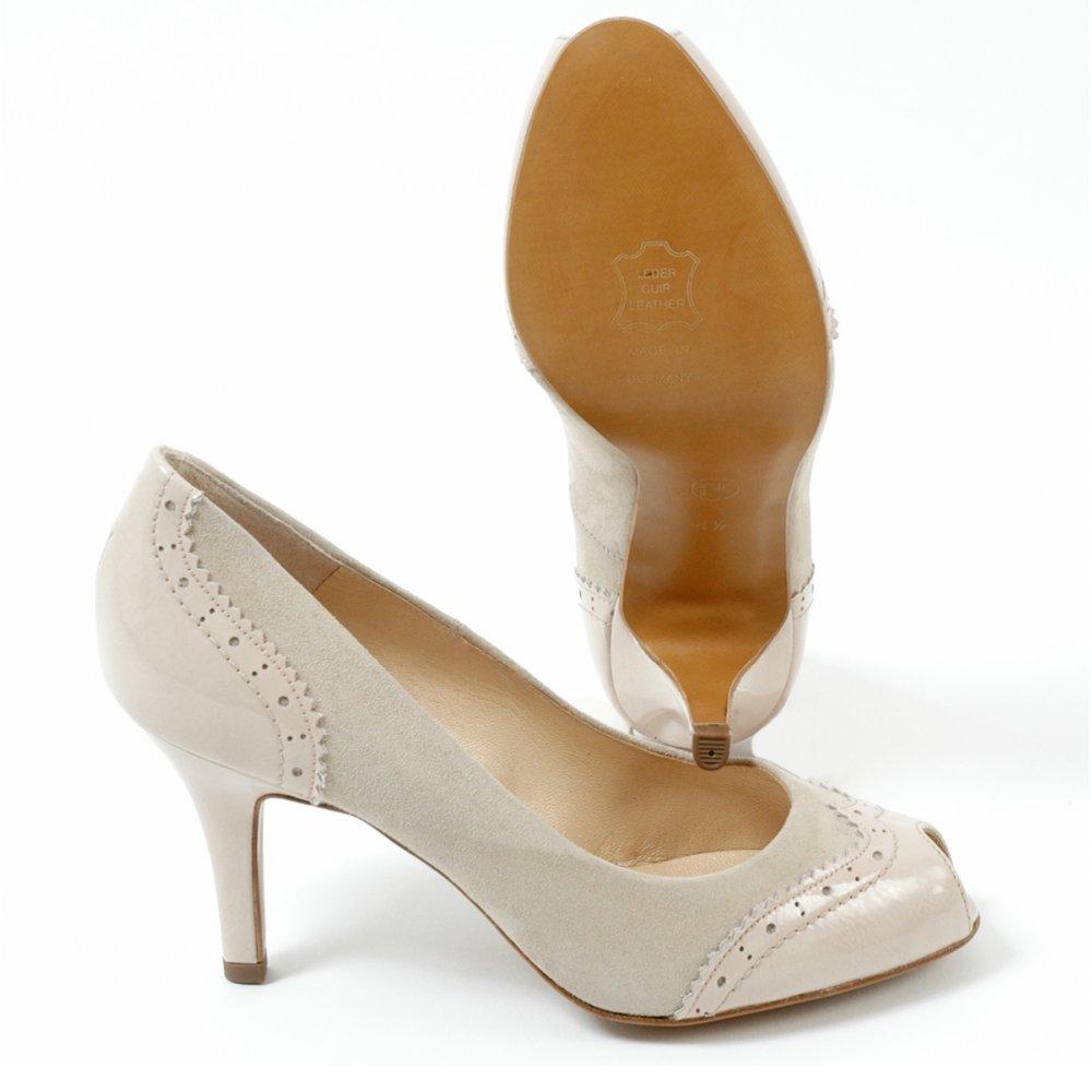 Peter Kaiser Smyrna | Medium heel, peep toe, nude suede