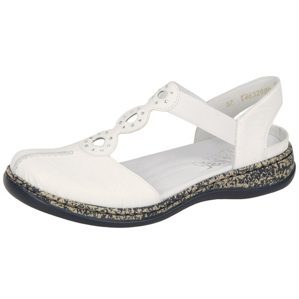 Black enclosed sandals - Rieker Snowdrop Women C Closed Toe Sandals In White Leather Mozimo