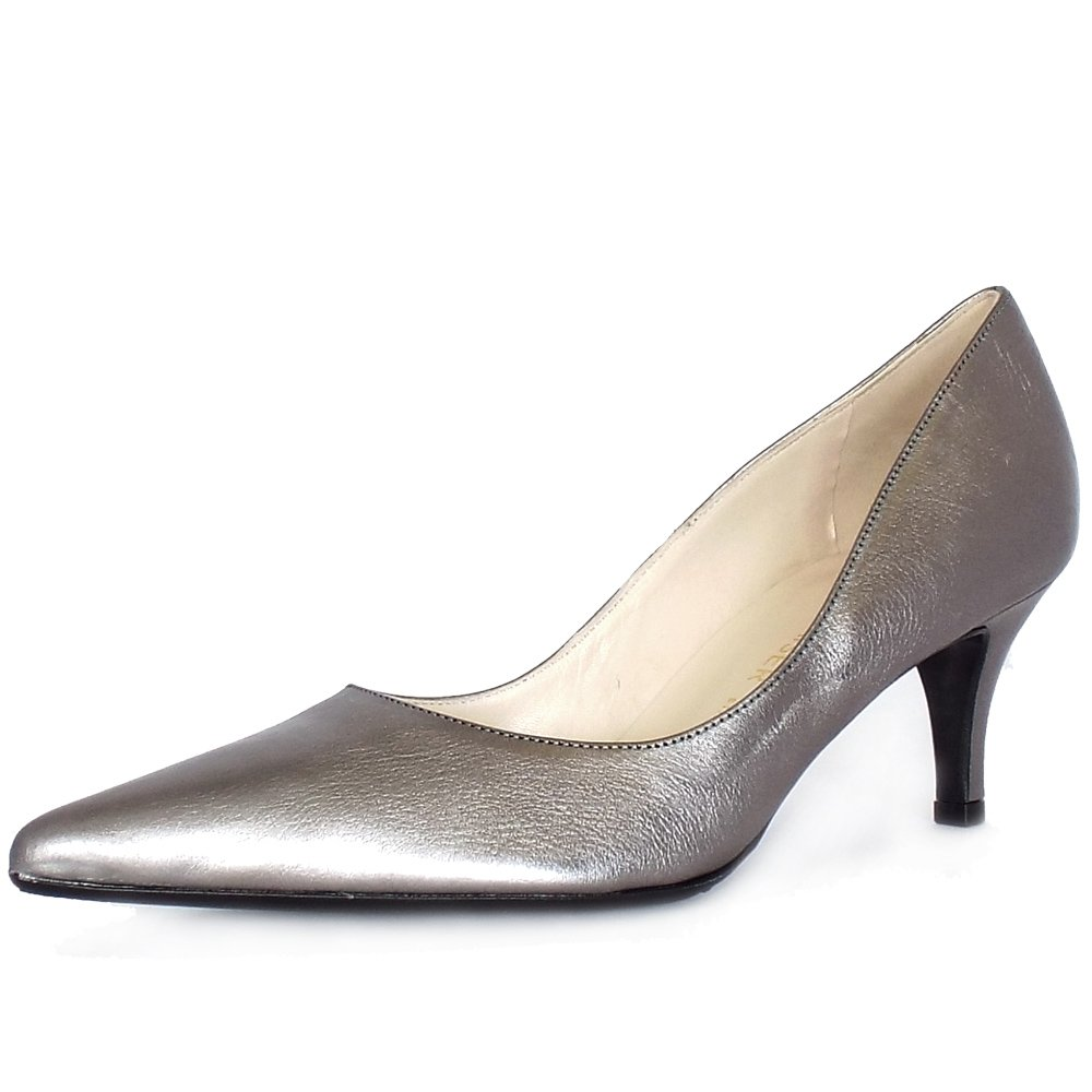 Dark Silver Low Court Shoes