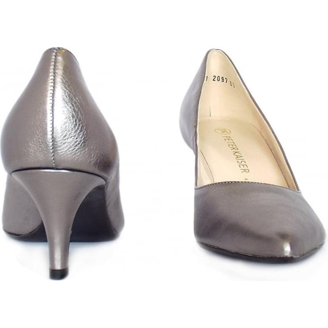 3070bd494ae Soffi Dressy Pointy Toe Mid Heel Court Shoes in Silver Leather