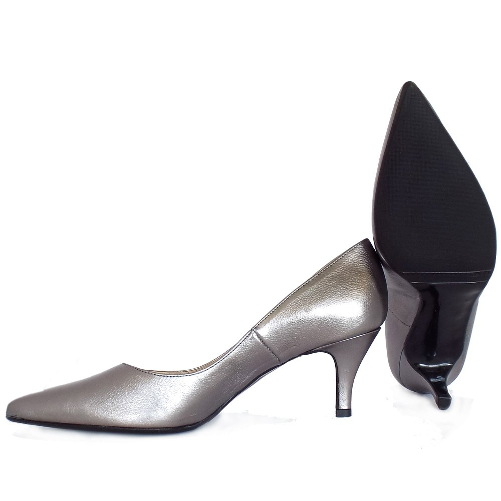 kaiser soffi mid heel court shoes in silver