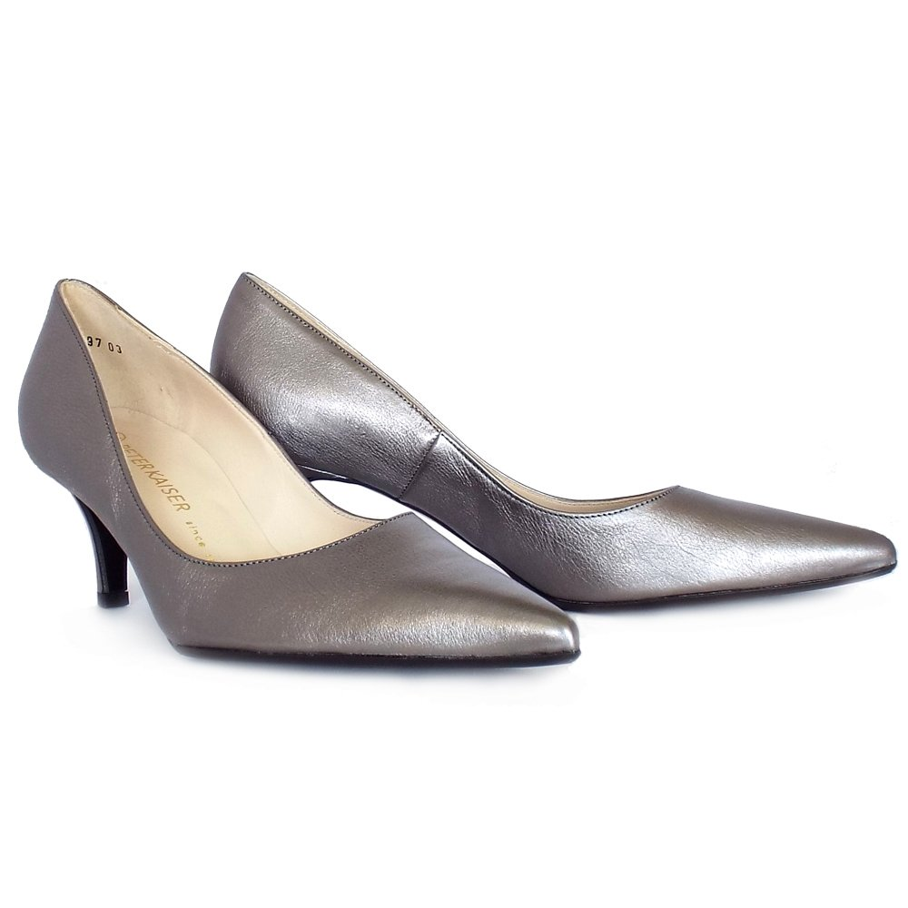 Peter Kaiser Soffi Mid Heel Court Shoes In Silver