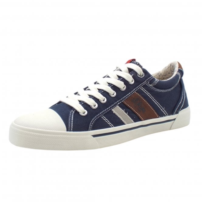 Webb Men's Casual Lace Up Canvas Trainers In Navy