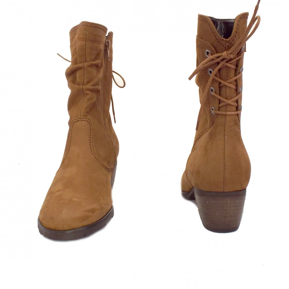 Gabor Boots | Sonic Ladies Comfortable Boots in Brown Leather | Mozimo