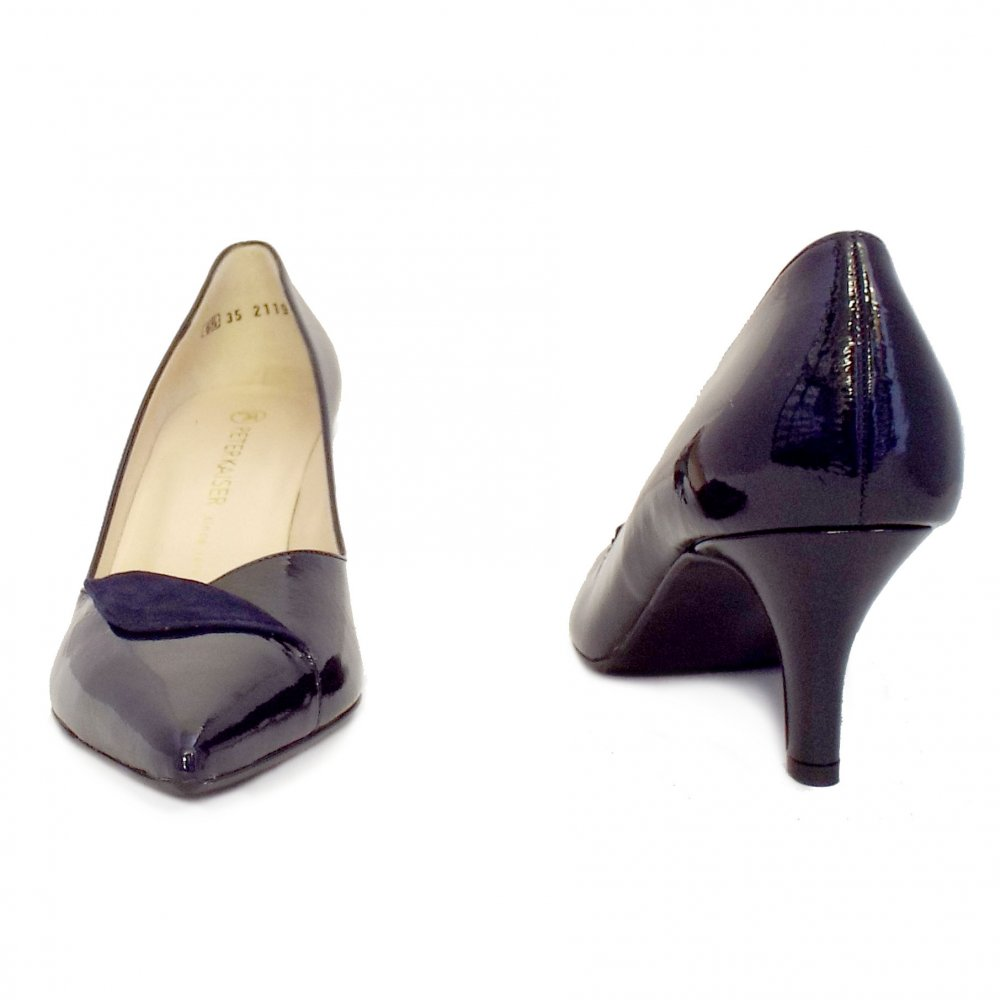 kaiser soralia navy patent evening shoes