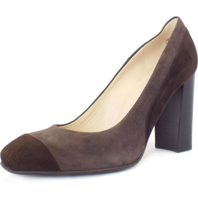 b6c5e03f0c0 Sorana High Block Heel Court Shoes In Brown And Taupe Suede