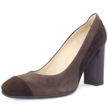 Sorana High Block Heel Court Shoes In Brown And Taupe Suede
