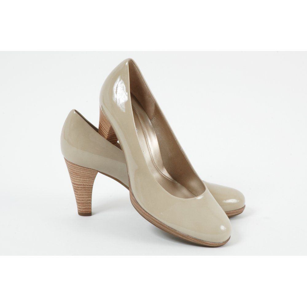 gabor shoes soria high heel court in beige patent