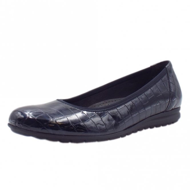 58534efa52a2b Gabor Splash | Women's Modern Ballet Pumps in Navy Patent | Mozimo