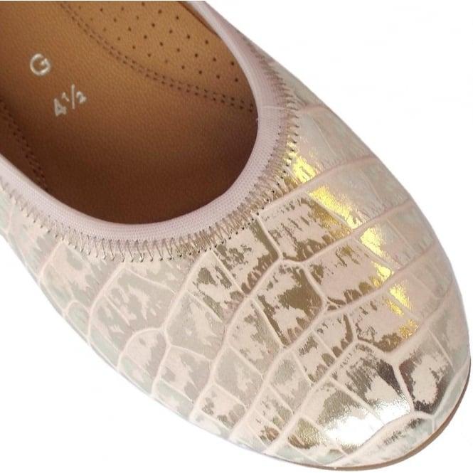 8d5fff78809 Splash Women  039 s Wider Fit Ballet Pumps in Croc Effect Rose and Gold