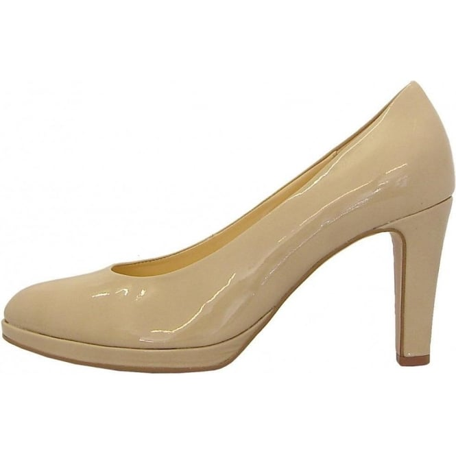 Gabor Splendid Ladies Court Shoe In Beige Patent